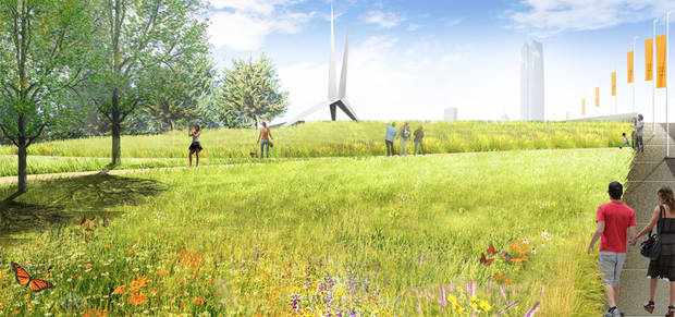 "Landscape architects plan a ""prairie garden"" for the transition from Skydance Bridge to the lower section of the MAPS 3 park. The lower park with have athletic fields and courts, a community garden and a continuation of the upper park's promenade. [City of Oklahoma City/Hargreaves Associates]"