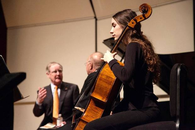 Burns Hargis and Billie and Ross McKnight announce the $25 million programming endowment for the new McKnight Center for the Performing Arts. OSU music student Bree Ahern plays the cello during the announcement. [Photo Provided by OSU]