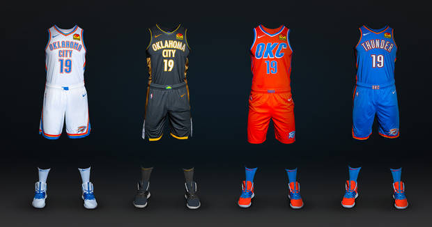 The Thunder unveiled its 2019-2020 uniforms Monday. (Photo courtesy of the Thunder)