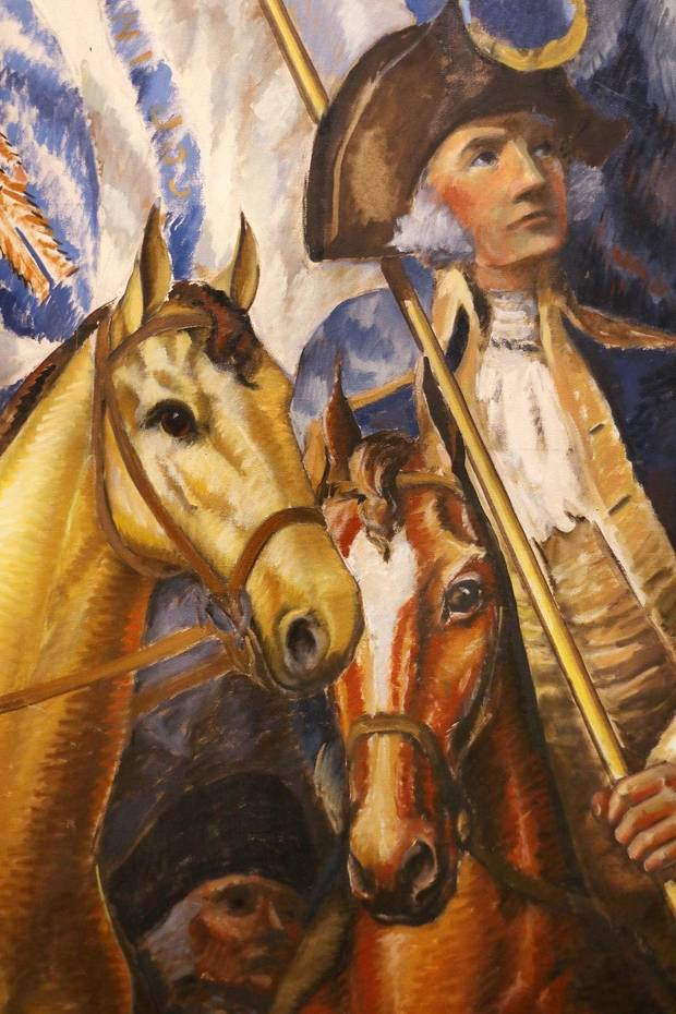 "A detail from ""Triumph of Washington,"" a massive oil on canvas mural by Gardner Hale, is shown Wednesday, October 30, 2019. The Oklahoma City Museum of Art show ""Renewing the American Spirit: the Art of the Great Depression"" showcases the mural, which has not been viewed since 1932. [Doug Hoke/The Oklahoman]"