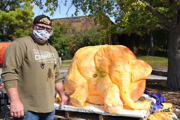 Wilson pumpkin carver Daniel Miller made an appearance Friday at the Oklahoma City Zoo's Chomp and Stomp event to carve a 3-D elephant into a 494-pound Oklahoma-grown pumpkin. [Photo provided]