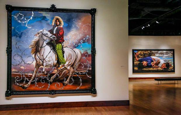 "The larger-than-life painting ""Colonel Platoff on His Charger"" by artist Kehinde Wiley is on view in the exhibit ""Kehinde Wiley: A New Republic"" at the Oklahoma City Museum of Art in Oklahoma City. Photo by Chris Landsberger, The Oklahoman"