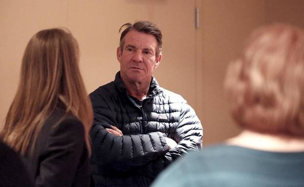 "Dennis Quaid talks with reporters on the set of the film ""I Can Only Imagine,"" a biopic based on the hit song by Christian hitmakers MercyMe, at the Oklahoma City Civic Center, Thursday, Jan. 12, 2017. [Sarah Phipps/The Oklahoman Archives]"
