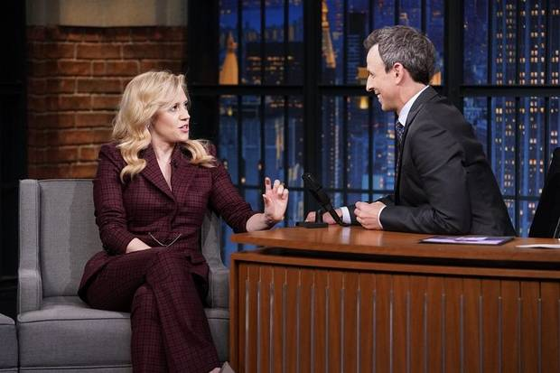 "Kate McKinnon appears during an interview with host Seth Meyers on the June 27, 2019 episode of ""Late Night with Seth Meyers."" [Photo by Lloyd Bishop/NBC]"