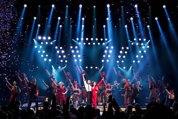 "The company of the national tour of ""On Your Feet!"" performs. The musical biopic of Gloria and Emilio Estefan plays OKC on Feb. 5-10, 2019. Photo provided by Matthew Murphy"