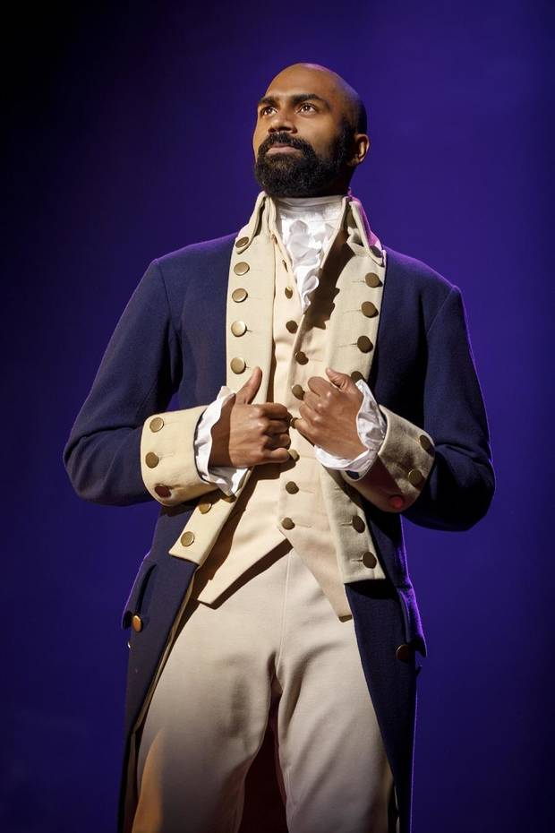 "Nik Walker portrays Aaron Burr in the national tour of ""Hamilton"" performing through Sunday at the Civic Center Music Hall. [Photo by Joan Marcus]"