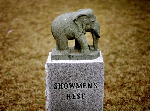 An elephant stone marks the Showman's Rest section of Mount Olivet Cemetery in Hugo, Okla., [The Oklahoman Archives]