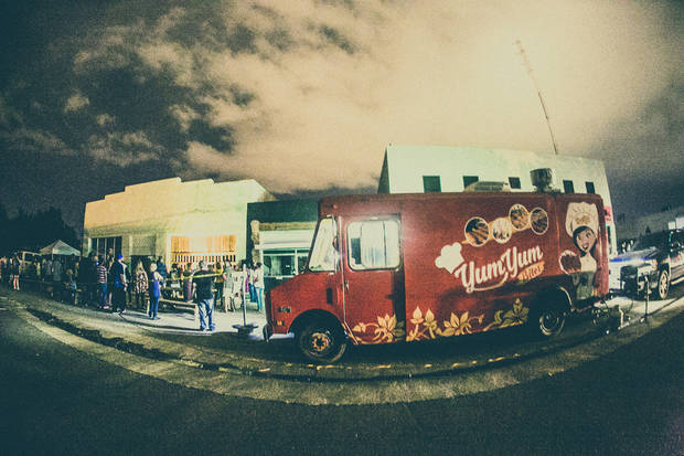 Food trucks sit outside the Sunset Market in Norman. [Photo provided by Dylan Johnson]