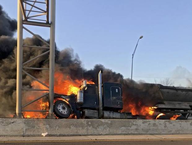 Fiery wreck shuts down eastbound I-40 near Del City
