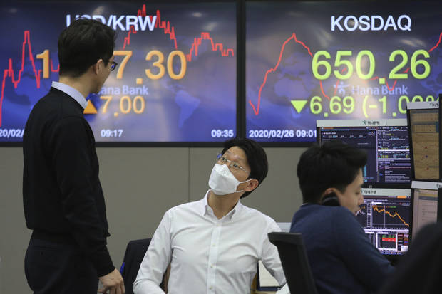 Global shares slide on fear virus' spread may be unstoppable