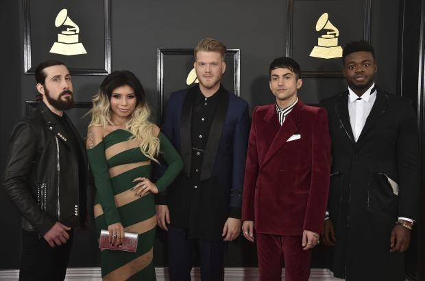 From left, Mitch Grassi, Kirstin Maldonado, Scott Hoying, Avi Kaplan, and Kevin Olusola of the musical group Pentatonix arrive at the 59th annual Grammy Awards at the Staples Center on Sunday, Feb. 12, 2017, in Los Angeles. AP photo