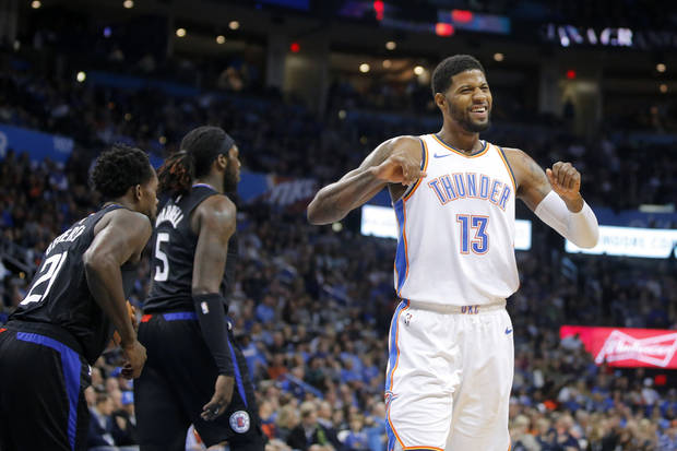 Oklahoma City Thunder s Paul George (13) reacts during an NBA basketball  game between the e8622e75d