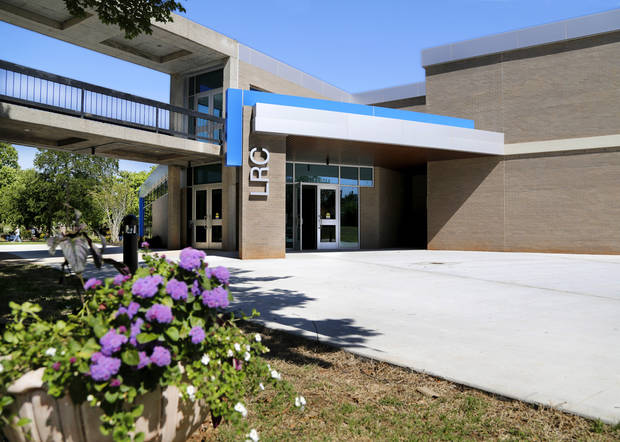 The southeast entrance to the new Learning Resource Center at Rose State College. [Photo by Jim Beckel, The Oklahoman]
