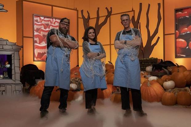 "Team Mummies Rejects - from left, Oklahoman Daniel Miller, Hemu Basu and Steve Weiss - are competing on ""Halloween Wars"" Season 10. [Food Network photo]"