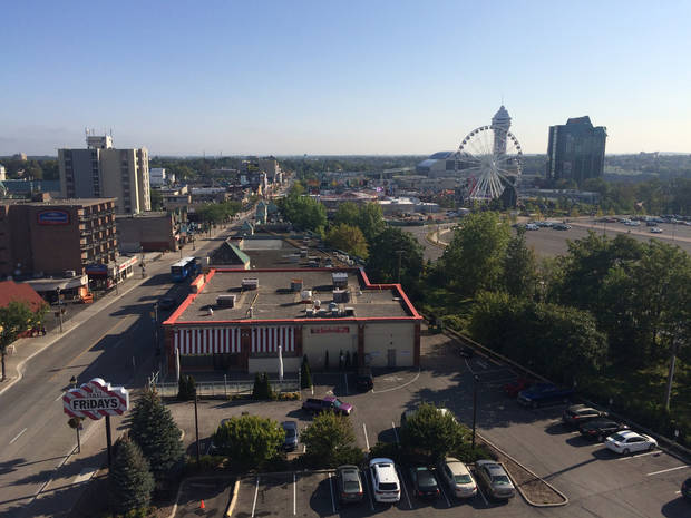 The view of Clifton Hill's entertainment district from our Niagara Falls hotel room. (Photo by Berry Tramel)