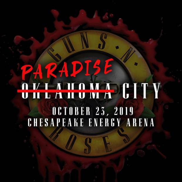 "Iconic rockers Guns 'N Roses will make their Chesapeake Energy Arena debut when they bring their blockbuster ""Not In This Lifetime"" Tour to Oklahoma City for an Oct. 23 show, the OKC venue announced today. [Poster image provided]"