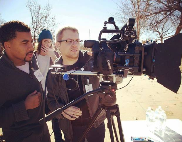 "Oklahoma writer-director Laron Chapman works with cinematographer Jacob Leighton Burns on his feature film directorial debut ""You People,"" which played Thursday at MidFirst Bank Theater at Harkins Bricktown Cinemas 16 during the deadCenter Film Festival. [Photo provided]"