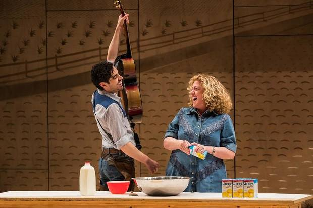 "Damon Daunno stars as Curly and Mary Testa as Aunt Eller in the Broadway revival of ""Oklahoma!"" [Little Fang photo]"