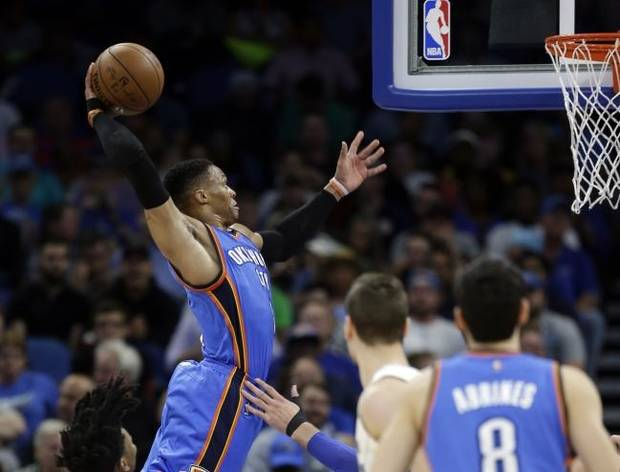 On this date in sports history: Russell Westbrook has 57 points, the most in a triple-double in NBA history