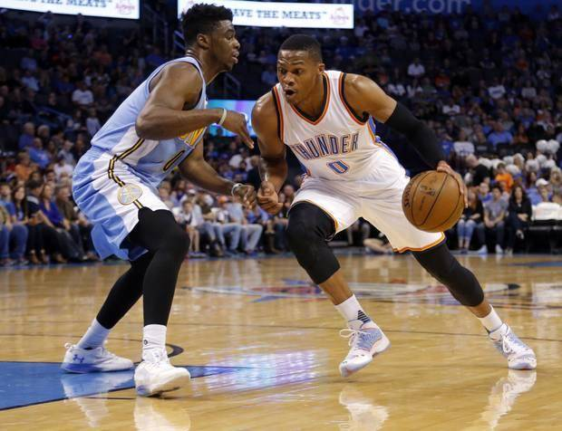 Okc thunder russell westbrook provided nuggets a blueprint for oklahoma citys russell westbrook 0 drives to the basket denvers emmanuel mudiay 0 malvernweather Image collections