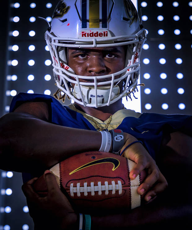 Heritage Hall linebacker Robert Mbroh poses for a photo at the school on Monday, June 29, 2020, in Oklahoma City, Okla. .[Chris Landsberger/The Oklahoman]