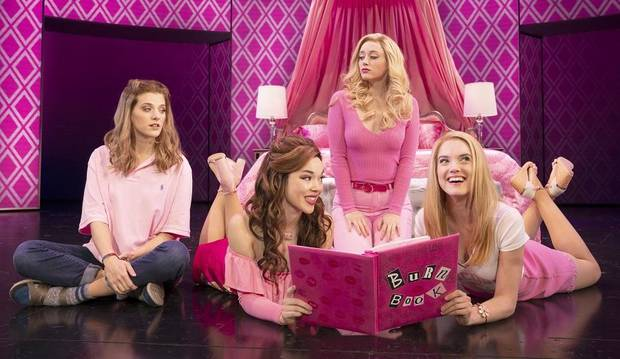 "From left, Danielle Wade, Megan Masako Haley, Mariah Rose Faith and Jonalyn Saxer star in the national touring company of ""Mean Girls."" [Photo by Joan Marcus]"
