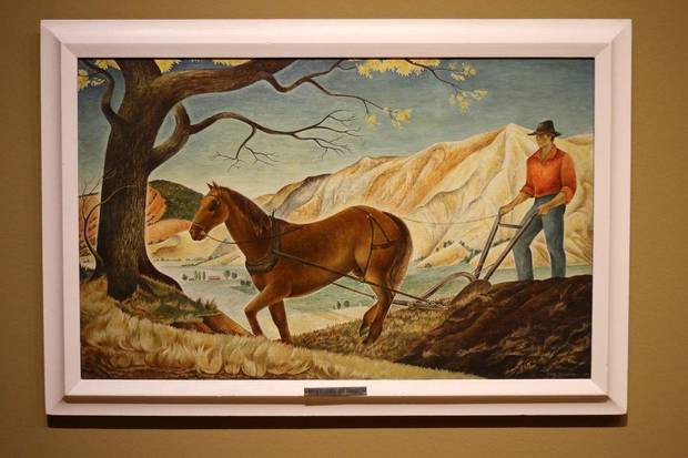 """The Plow That Broke the Plains"" by Pare Lorentz is featured in the Oklahoma City Museum of Art show ""Renewing the American Spirit: the Art of the Great Depression"" Wednesday, October 30, 2019. [Doug Hoke/The Oklahoman]"