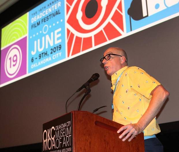 Lance McDaniel, deadCenter Film executive director, speaks during opening night for the 2019 deadCenter Film Festival at the Oklahoma City Museum of Art, Thursday, June 6, 2019. Due to the coronavirus pandemic, the 2020 edition of the deadCenter Film Festival will be primarily online. [Doug Hoke/The Oklahoman Archives]