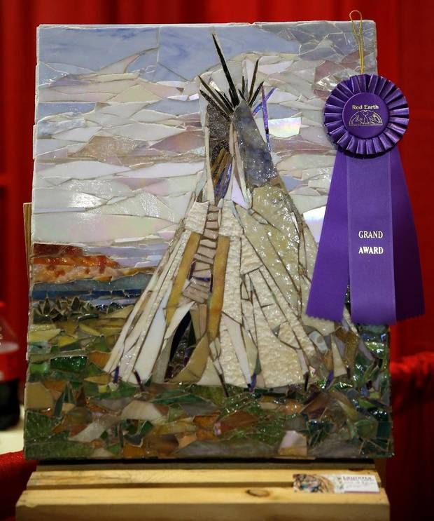 """Like a Rock"" by Lauretta Newby-Coker won the Grand Award at the Red Earth Festival awards ceremony at the Grand Casino Hotel & Resort, Saturday, Sept. 5, 2020. [Bryan Terry/The Oklahoman]"