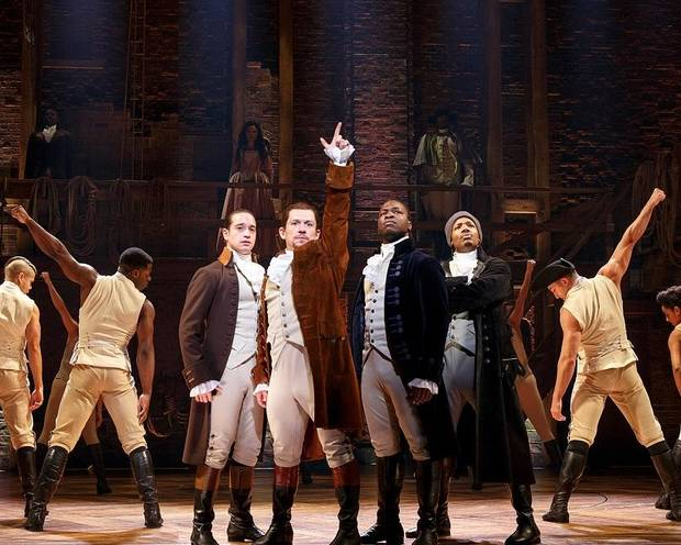 "The Chicago company of ""Hamilton"" performs. The national tour of the groundbreaking musical will close OKC Broadway's 2018-19 season with performances July 30-Aug. 18, 2019, at Civic Center Music Hall. Photo provided by Joan Marcus"
