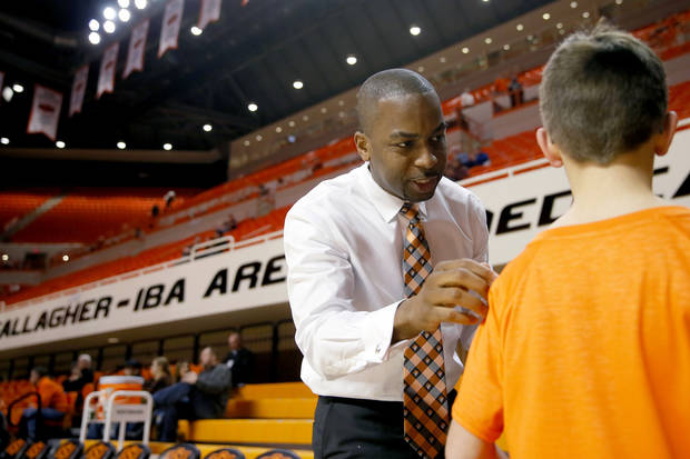 Mike Boynton hasn't been known to shy away from fans since become OSU's head coach last season. [Bryan Terry/The Oklahoman]