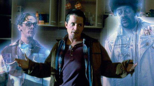 "From left, Jim Fyfe, Michael J. Fox and Chi McBride in ""The Frighteners."" [Universal Pictures photo]"