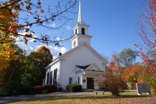 The Madison Baptist Church in Madison, New Hampshire, sits among the fall foliage. (Photo by Tricia Tramel).