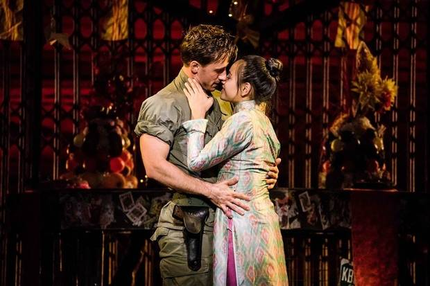 "Emily Bautista stars as Kim and Anthony Festa as Chris in the North American tour of ""Miss Saigon."" [Matthew Murphy photo]"