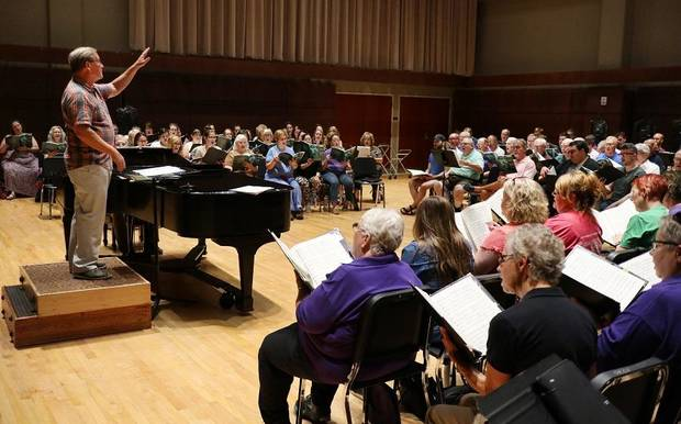 "Artistic Director Randi Von Ellefson, left, leads Canterbury Voices as they rehearse for their Oct. 13 performance of Duke Ellington's ""Sacred Concert"" Monday, September 30, 2019. [Doug Hoke/The Oklahoman]"