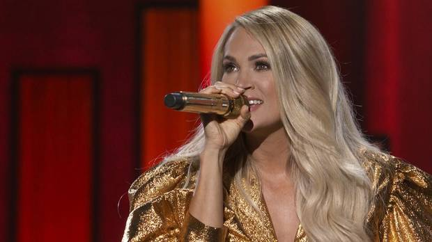 Carrie Underwood performs Wednesday on the 55th Academy of Country Music Awards. [Brent Harrington/CBS]