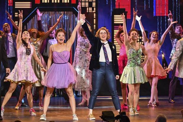 "Isabelle McCalla, from front left, and Caitlin Kinnunen, and the cast of ""The Prom"" perform at the 73rd annual Tony Awards at Radio City Music Hall on Sunday, June 9, 2019, in New York. [Photo by Charles Sykes/Invision/AP]"