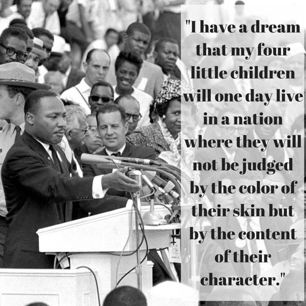 "The Rev. Dr. Martin Luther King Jr. gestures during his ""I Have a Dream"" speech. [Associated Press photo]"