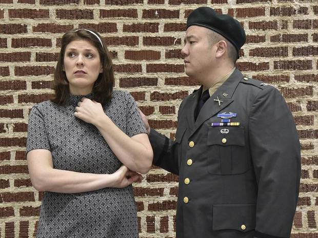 "Andre Chiang and Saira Frank star as Col. Jim Thompson and his wife Alyce in Painted Sky Opera's production of ""Glory Denied"" on Jan 31, Feb 2, and Feb 7 at the Civic Center. [Mutz Photography]"