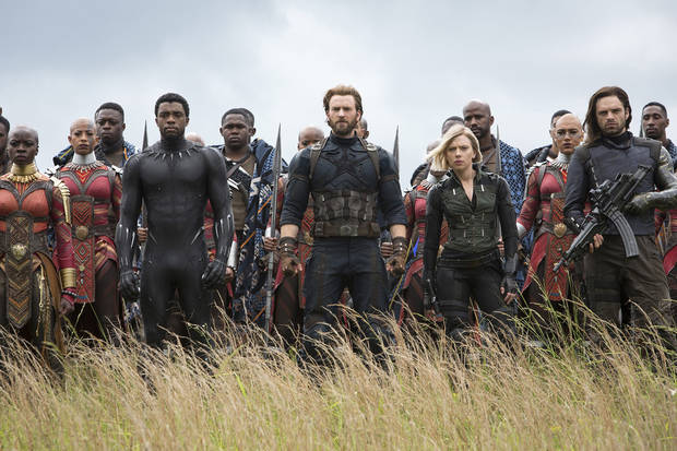 "Front row, left to right: Okoye (Danai Gurira), Black Panther-T'Challa (Chadwick Boseman), Captain America-Steve Rogers (Chris Evans), Black Widow-Natasha Romanoff (Scarlett Johansson) and Winter Soldier-Bucky Barnes (Sebastian Stan) in ""Avengers: Infinity War."" [Chuck Zlotnick, Marvel Studios-Walt Disney]"