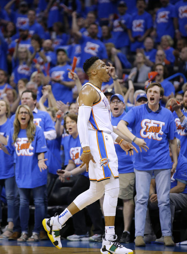 Oklahoma City's Russell Westbrook (0) celebrates a 3-point basket during Game 4 in the first round of the NBA playoffs between the Portland Trail Blazers and the Oklahoma City Thunder at Chesapeake Energy Arena in Oklahoma City, Sunday, April 21, 2019. Photo by Sarah Phipps, The Oklahoman