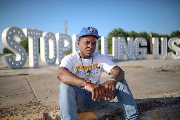Interview and photos: OKC rapper Jabee Williams uses lighted sign to send message after George Floyd's death