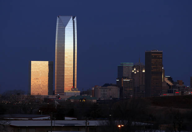 Oklahoma City Skyline is seen on Wednesday, Jan. 31, 2018 in Oklahoma City, Okla. Photo by Steve Sisney, The Oklahoman