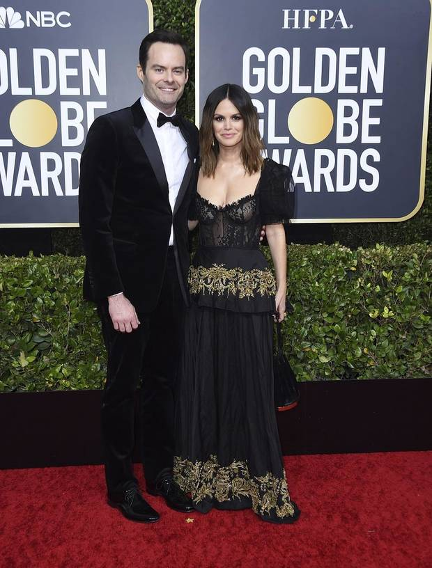 Bill Hader, left, and Rachel Bilson arrive at the 77th annual Golden Globe Awards at the Beverly Hilton Hotel on Sunday, Jan. 5, 2020, in Beverly Hills, Calif. [Photo by Jordan Strauss/Invision/AP]