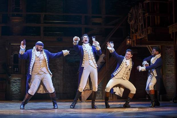 "From left, Mathenee Treco, Jordan Donica, Ruben J. Carbajal and Michael Luwoye perform on the national tour of ""Hamilton,"" coming to Oklahoma City on July 30-Aug. 18, 2019. Photo provided by Joan Marcus"