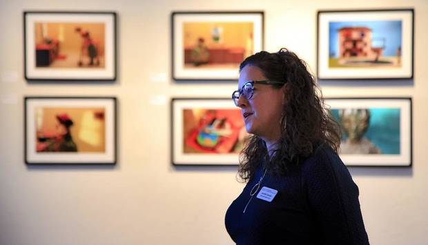 Jennifer Scanlan, Curatorial and Exhibitions Director at Oklahoma Contemporary Arts Center, speaks about the art on display during the social-media preview of ArtNow 2019 at Oklahoma Contemporary in Oklahoma City. [Photo by Chris Landsberger, The Oklahoman]