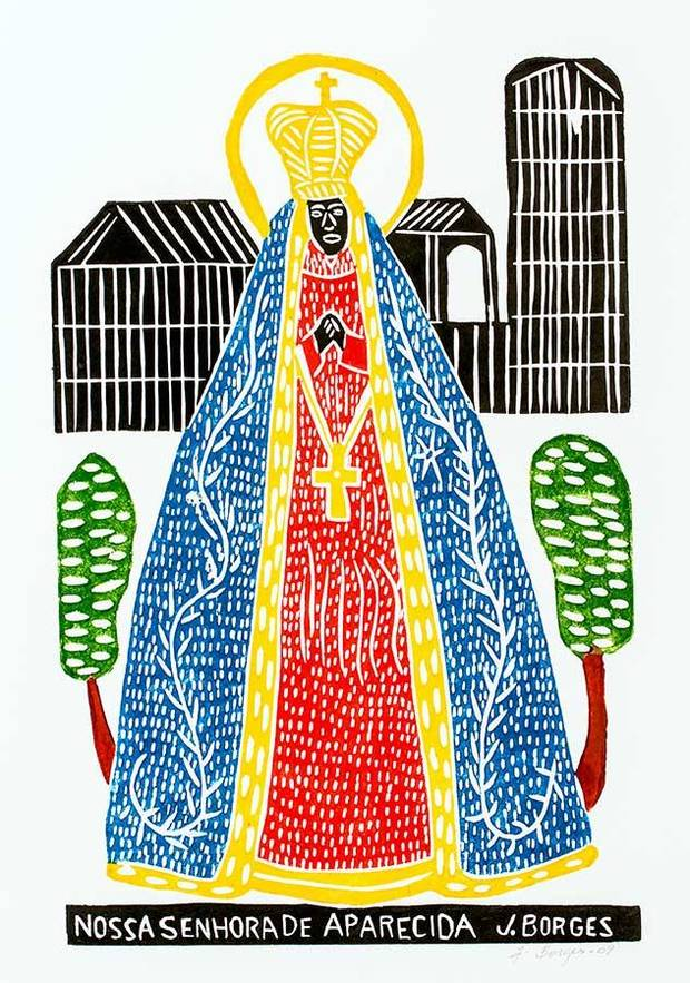 "J. Borges' ""Nossa Senhora de Aparecida (Our Lady of Aparecida, Patroness of Brazil)"" is featured in the exhibit ""Bandits & Heroes, Poets & Saints: Popular Art of the Northeast of Brazil,"" closing Sunday at Shawnee's Mabee-Gerrer Museum of Art. [Image provided]"
