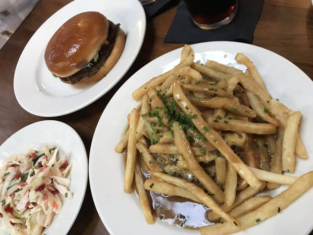 Cucumber Slaw, a Black Bean burger and a Hot Hamburger from New State Burgers, opening this week in Oklahoma City's Plaza District. [Dave Cathey/The Oklahoman]
