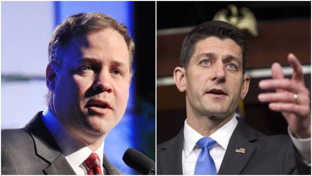 LEFT: U.S. Rep. Jim Bridenstine, R-Tulsa, speaking during the National Tornado Summit being held in downtown Oklahoma City Monday, Feb. 10, 2014. Photo by Paul B. Southerland, The Oklahoman RIGHT: In this May 12, 2016, file photo, House Speaker Paul Ryan of Wis. speaks with reporters on Capitol Hill in Washington, following his meeting with Republican presidential candidate Donald Trump. (AP Photo/Cliff Owen, File)