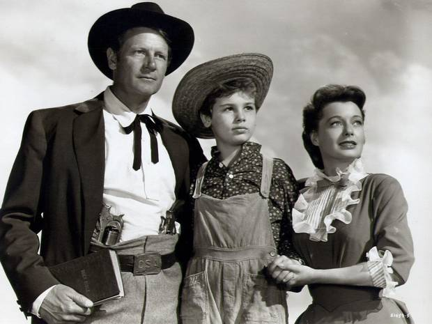 "Joel McCrea, Dean Stockwell and Ellen Drew star in ""Stars in My Crown."" [MGM photo]"